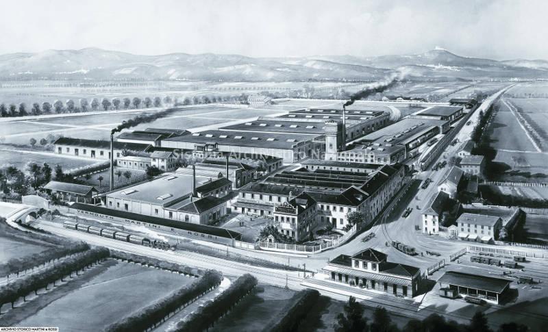 Riproduzione ad acquerello S.T.E.N. di una veduta dello stabilimento produttivo Martini & Rossi a Pessione, 1924. (Martini & Rossi spa, Fondo Martini & Rossi spa)