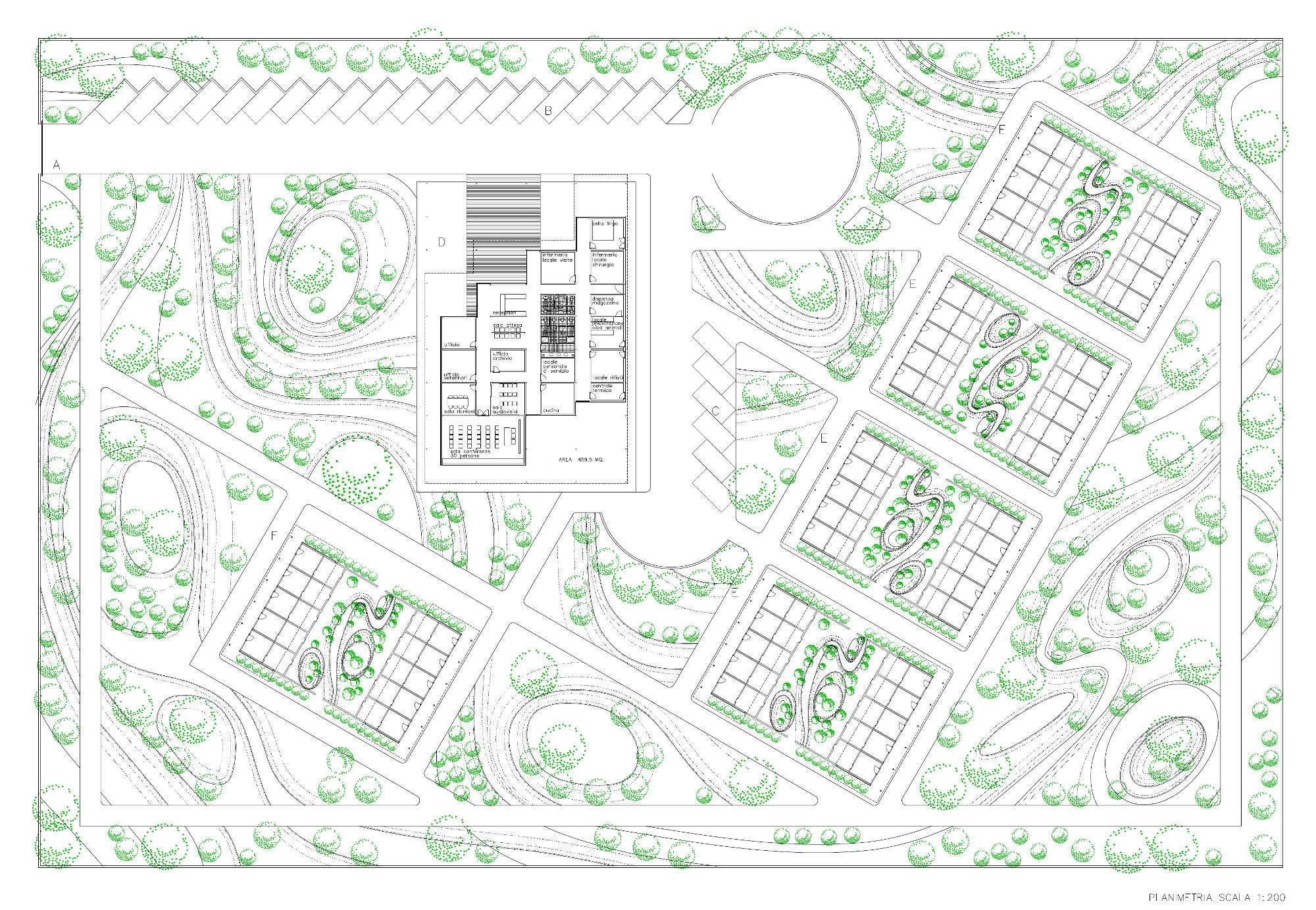 Progetto di fattibilità del nuovo Canile Rifugio di Torino - Planimetria generale