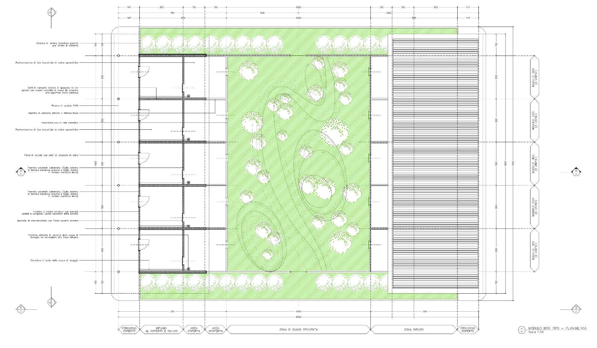 Progetto di fattibilità del nuovo Canile Rifugio di Torino - Pianta modulo tipo