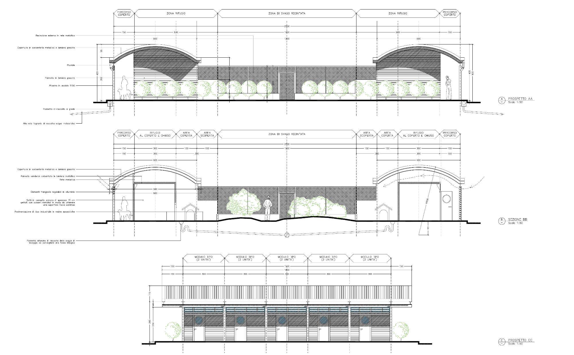 Progetto di fattibilità del nuovo Canile Rifugio di Torino - Sezione e prospetti modulo tipo